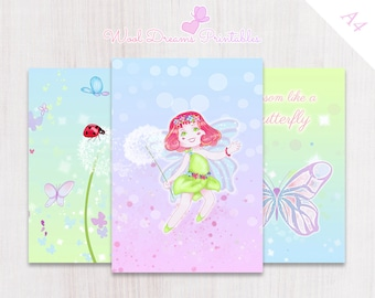A4 Dashboards and Dividers Butterflies, printable tabs, divider set, organizer tabs,  binder dividers, editable tabs