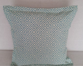 "Decorative Pillow Covers, 20"" x 20"" Turquoise Blue Geometric Flange Pattern Pillow Cover"