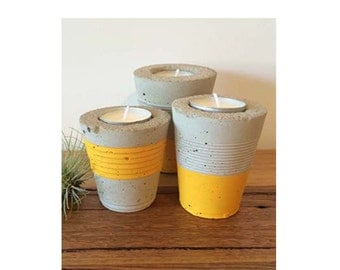 Concrete Tealight Holder - Set or 3 - Yellow