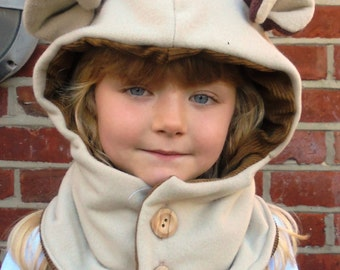 READY TO SHIP - Size M - 5T - 12 Years  Monkey - Cowl Hood -