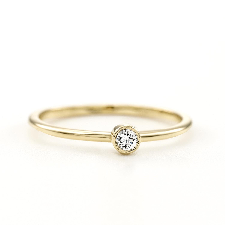 Certified Minimal Round Brilliant Diamond Ring Minimalist