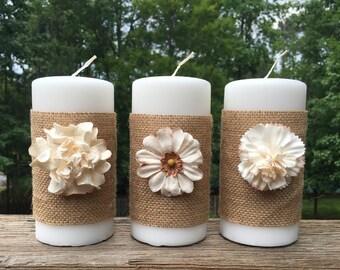 Burlap Candles, Pillar Candles, Decor Candles, White Candles
