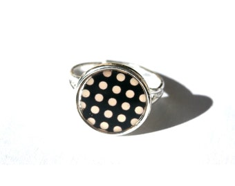Cute gift for girl jewelry - POLKA DOT RING - black White - ring girl princess gift - Adjustable ring - Small ring - Cute ring - Tiny ring