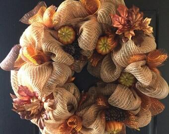 Fall Harvest Pumpkin Wreath