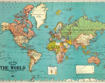 Cavallini World mapa papel azul