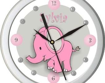 Pink Elephant Personalized Nursery Wall Clock