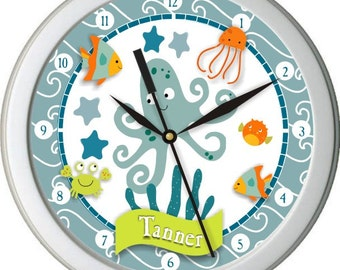 Bubbles and Squirts Personalized Nursery / Children Wall Clock