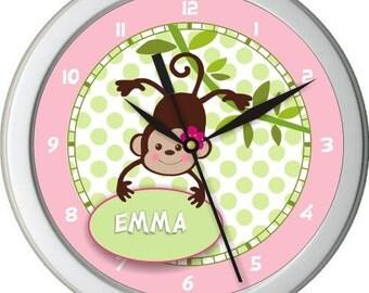 "Girl Monkey Sign Personalized 10"" Nursery / Children Wall Clock"