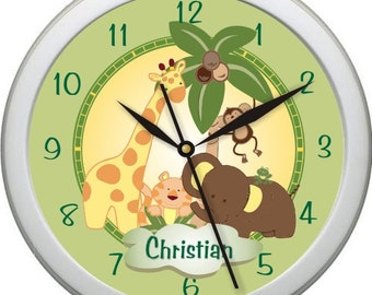 "Jungle Babies Personalized 10"" Nursery / Children Wall Clock"