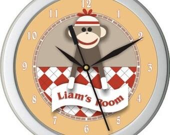 """Boy Sock Monkey Personalized 10"""" Nursery / Children Wall Clock"""
