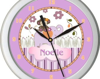 "Jacana Girl Personalized 10"" Nursery / Children Wall Clock"
