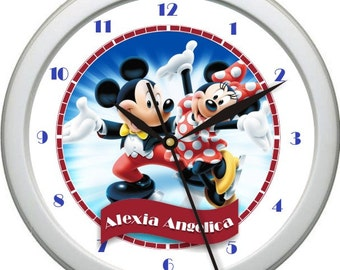Mickey and Minnie Personalized Nursery / Children Wall Clock