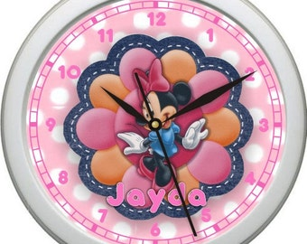 "Minnie Mouse Personalized 10"" Nursery / Children Wall Clock"