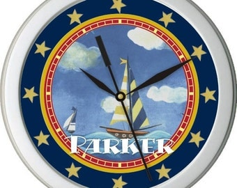 "Nautical Sail Boat Personalized 10"" Nursery Wall Clock"