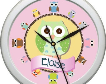"Pink and Green Owl 3  Personalized 10"" Nursery / Children Wall Clock"