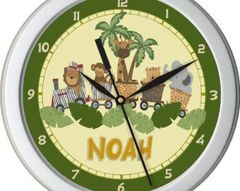 "Safari Express Personalized 10"" Nursery Wall Clock"