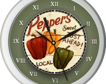 "Country Peppers Personalized 10"" Kitchen Wall Clock"