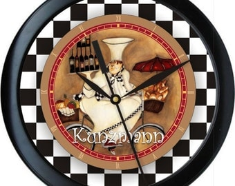 French Chef Personalized Kitchen Wall Clock