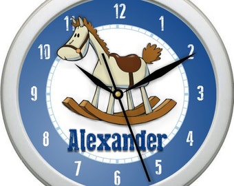 Boys Rocking Horse Personalized Nursery / Children Wall Clock Gift Shower Gift