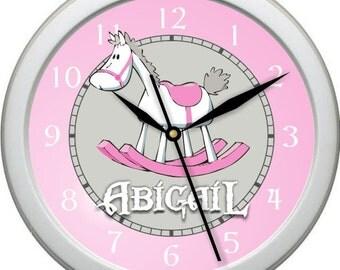 Girls Rocking Horse Personalized Nursery / Children Wall Clock Gift Shower Gift