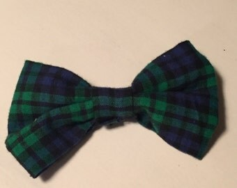 Plaid Blue and Green Bow