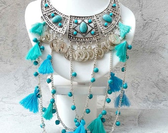 Boho folk Turquoise necklace