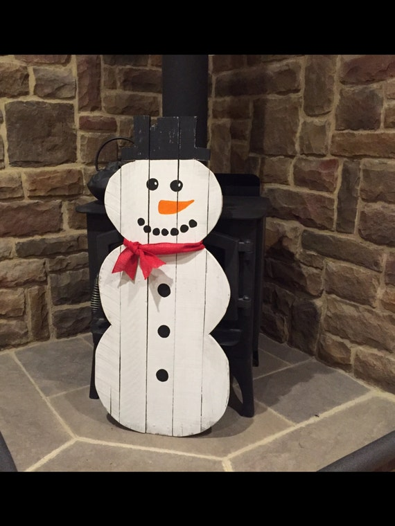 Snowman Pallet Decoration Winter Holiday Rustic Decoration for your  ~ Bonhomme De Bois Lyon