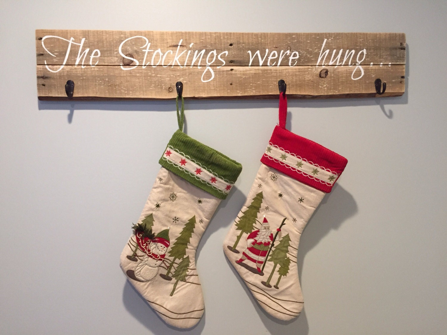 Christmas stocking holder decor holiday pallet