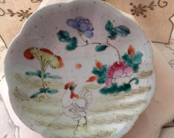 Antique Chi'ng Dynasty/Republic Chinese Footed Condiment/Sweet Meat Dish Undulating Rim H-P Enamel Decoration Chicken Florals Marked