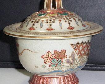Censer Kyoto Studio Koro Japan Ningsan Meiji p. Censer (1868-1916) Signed Ceramic Stoneware Pottery