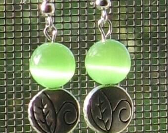 Florescent Green leaf Earrings