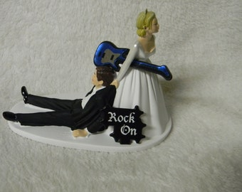 Wedding Reception Party Ceremony Rock & Roll Band Group Music Guitar Cake Topper