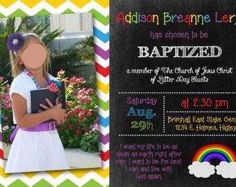 Baptism Chalkboard Rainbow PRINTABLE Photo Invitation