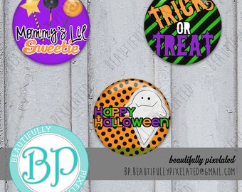 Treat Mix - Halloween Bottle Cap Images - Digital Collage Sheet - 1 Inch Circles for Bottlecaps, Hair Bows, Pendants - Instant Download
