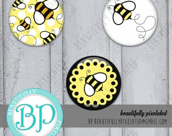 Lil' Bumble Bee - Bottle Cap Images - Digital Collage Sheet - 1 Inch Circles for Bottlecaps, Hair Bows, Pendants - Instant Download