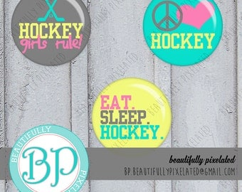 Hockey Gal - Bottle Cap Images - Digital Collage Sheet - 1 Inch Circles for Bottlecaps, Hair Bows, Pendants - Instant Download