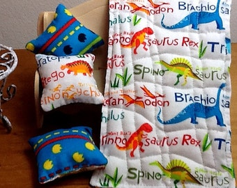"1/12 scale ""Dinosaur Footprints"" single bed quilt and 3decorator cushions"