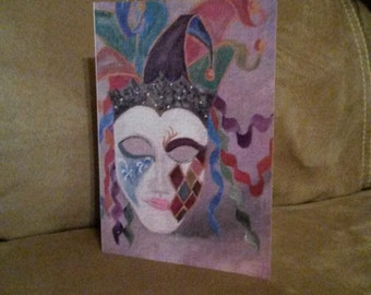 Venetian mask 5x7 greeting card
