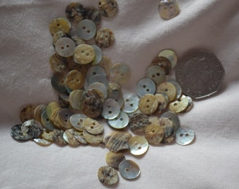 pack of 50 X 11Mm mother of pearl  2 hole  buttons