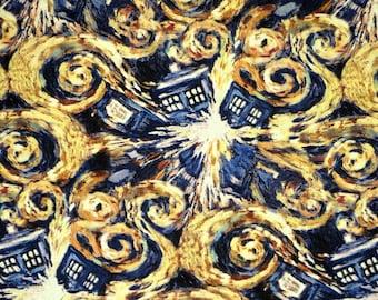 Fat Quarter  DOCTOR WHO Fabric Exploding  Tardis Sci-Fi Van Gogh Springs  CREATIVE