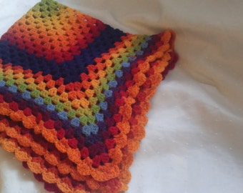 Baby blanket crochet colorful 100% Virgin wool