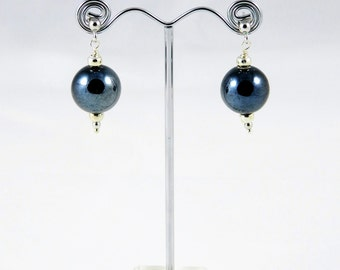 Silver earrings dark gray ceramic pearls