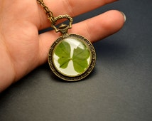 Four clover pendant Real dried clover necklace Clover leaf inside Epoxy Resin Eco Gift Lucky Clover Botanical pendant Magic jewelry