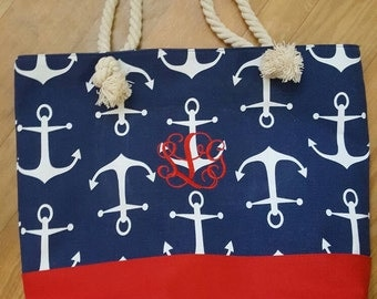 Monogrammed Nautical/Anchor Beach Tote Bag
