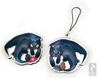 """Toothless and Alpha Toothless - Reversible clear 2"""" acrylic charm - Dragon double-sided fanart charm keychain"""