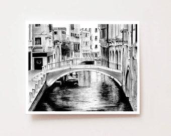"Venice Italy, venice wall art, ""Venice, Italy"" - Fine art Giclee print, charcoal art print, landscape drawing, venice, venice print"