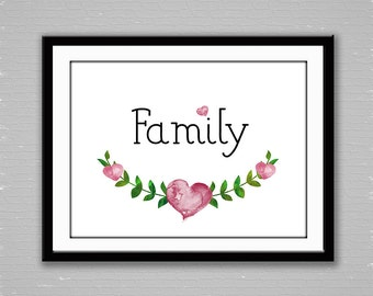 Family, Instant Download, Digital Art, Art Print, Home Decor, Printable Art, Typography