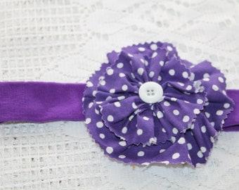 Purple Soft Baby/Toddler Headband with Polkadots