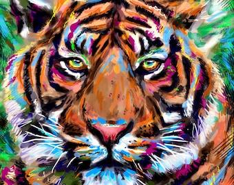Tiger Art Print, Jungle Art, Wild Animal painting