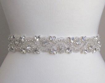 Bridal sash, wedding belt, wedding dress belt, bridal beaded sash, Bridesmaid belt, crystal sash 93-5